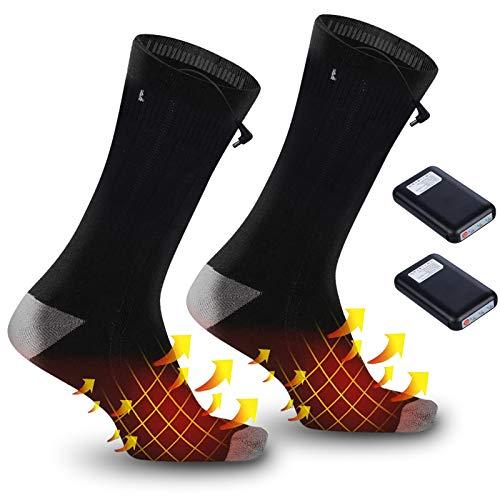 Wolady Beheizte Socken für Männer Frauen Elektrische Socken Wiederaufladbar Fußwärmer 3 Heizungseinstellungen für Outdoor Skifahren Wandern Camping