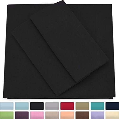 Cosy House Collection Premium Bamboo Sheets - Deep Pocket Bed Sheet Set - Ultra Soft & Cool Bedding - Hypoallergenic Blend from Natural Bamboo Fiber - 4 Piece - Full, Black