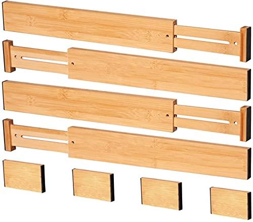 ANTOWIN Schubladentrenner Verstellbar Bambus (43-56 cm), Schubladen Organizer, gefedert, Küche, Kommode, Badezimmer, Schlafzimmer, Babyschublade, Schreibtisch Ordnungssystem