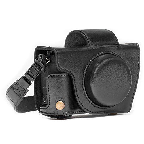 MegaGear Canon PowerShot G5 X Ever Ready Custodia in ecopelle per Fotocamera con Tracolla - Nero - MG1066