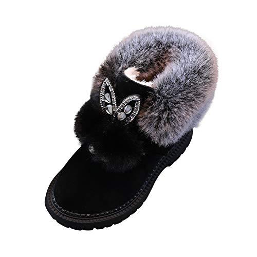 1-6 Años,SO-buts Niñas Bebés Niñas Invierno Felpa Botas Tobillo Moda Oreja Nieve Cálido Botín Corto Zapatos Casuales (Negro,25)