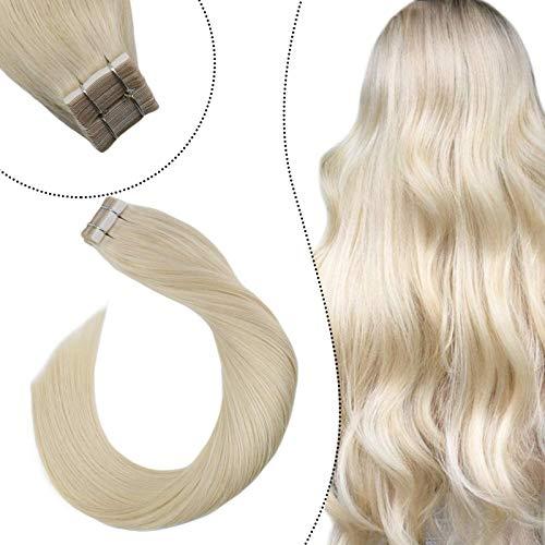 Ugeat Remi Echthaar Extensions Tape in Haarverlangerung Platinblond #60 28 zoll Brasilianische Haare Tape Tressen Glue in Skin Weft 50 Gramm 20Stucke/Paket