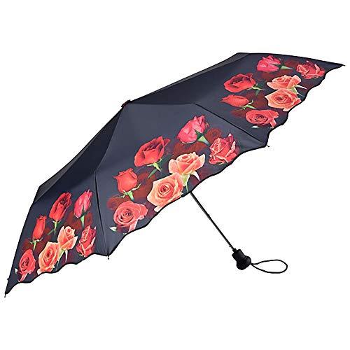 VON LILIENFELD® Zakparaplu Paraplu Automatische Stabiel Compact Vrouwen Mannen Motief Bloemen Rozenboeket