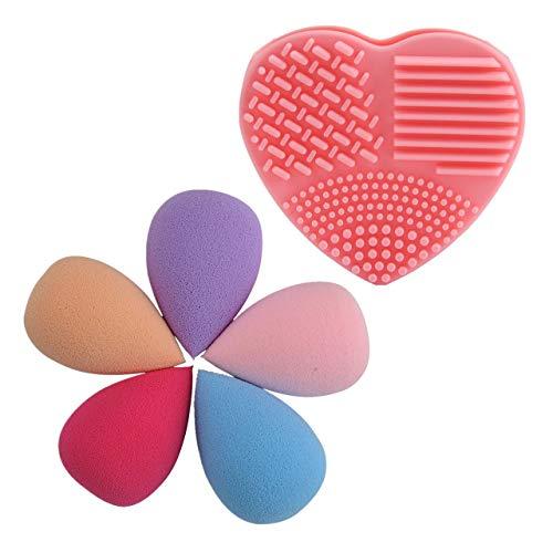 Faletony 4pcs éponges Houppe à Poudre Maquillage Forme Goutte d'Eau et 1pc Nettoyeur Outil Pinceau de Nettoyage en Silicone