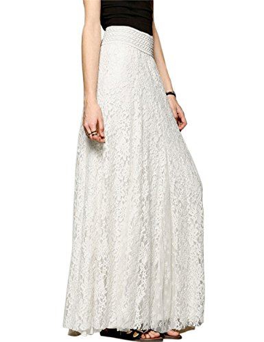 Tanming Women's Fashion High Elastic Waist A-Line Floral Lace Maxi Long Skirts (Large, Pure White)