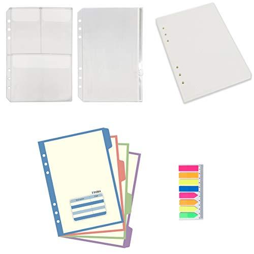 A5 6-Ring-Einlagen und Zubehör für Filofax, 100 Blatt gepunktetes Nachfüllpapier, 4 bunte Register, 2 Kunststoffhüllen, 160 Aufkleber