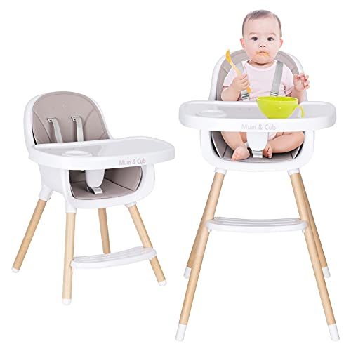 Mum & Cub Baby High Chair, Adjustable Wooden High Chair for Baby and Toddlers, with Removable Tray and Seat Harness, BPA-Free