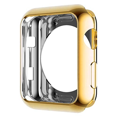 HANKN Case for Apple Watch Series 3 2 1 Case Gold 42mm, Soft TPU Plated Cover Scratch-Proof Smartwatch Protector Bumper for Iwatch [No Front Screen Protector] (42mm, Gold)