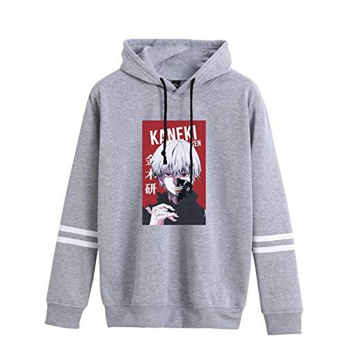 Unisex Tokyo Ghoul Pullover Hoodie Nueva Camiseta gráfica Sudaderas con Capucha de Manga Larga Ropa Deportiva a Rayas Sudadera con Capucha