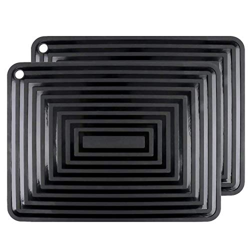 2 Pack Large Silicone Trivet Mats/Hot Pads,Pot Holder,9'x12' Non Slip Flexible Durable Heat Resistant Pot Coaster Kitchen Table Countertop Mats (Black)