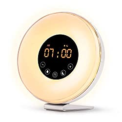 River City Clocks Wake Up Light Digital Alarm Clock with Sunrise Simulation - 6 Nature Sounds, FM Radio, Sunset Fading Night Light for Bedside and Kids, Sunrise Digital Alarm Clock for Heavy Sleepers