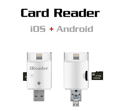 3 in 1 SD Card Reader Flash Drive USB/ Micro USB/ Lightning Trail and Game Camera Viewer for TF/SD Card,SD Card Camera Reader Adapter for iPhone 7/7 plus/ 6s/ ipad/ MAC/ PC/ Android(White)