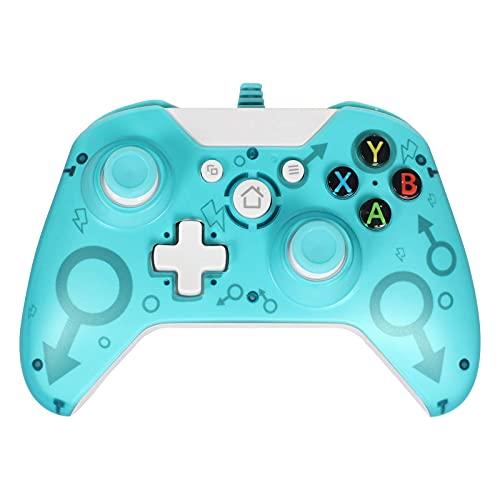 GZW-Shop Mando Xbox One, Xbox One S, One X, Xbox Series x Controlador cableado Compatible con Windows PC 7/8/10, Xbox One Controller Soporte y Controles de Audio (Green)