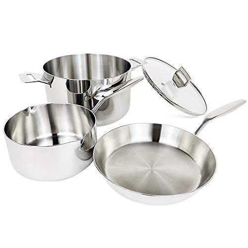 COOKPAD Commercial Grade Triply Stainless Steel Cookware Set 4 Piece Induction Pan and Pot Set Stock Pot with LipStew PotFrying Pan Kitchen DishwasherOven Safe