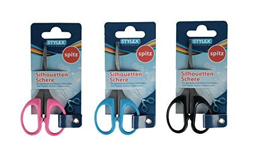 3x Silhouettenschere / Länge 10 cm / spitz / Farbe: je 1x blau, schwarz + pink