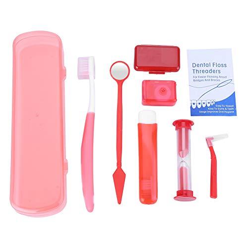 Cepillo de dientes Espejo de boca Cepillo interdental Hilo Herramientas de limpieza bucal Ortodoncia Cuidado bucal(01# Kit de caja roja)