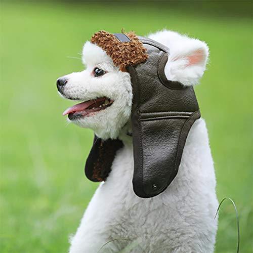 Kenyaw Warme Hund Pilot Hut Leder Hund Pet Caps Für Hunde Hüte Haustiere Produkte Lustige Cosplay Haustier Hund Halloween Hut Für Chihuahua(Braun/XL)
