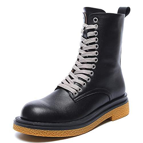 shoe Botas Negras de Cuero Retro Botas de Moto, Zapatos para Caminar...