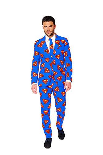 OppoSuits Superman Anzug für Herren besteht aus Sakko, Hose und Krawatte - EU62