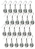 Bastex Silver Earring Blanks, Pack of 24 Units. Wire Hooks with Small 12mm Cabochon Settings. Perfect for DIY...