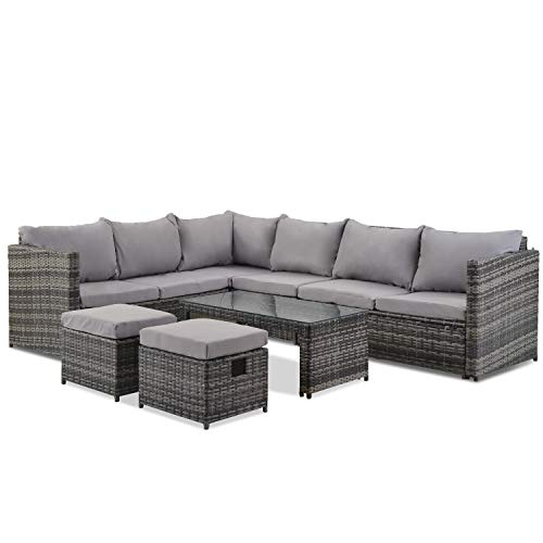 Nyyi Garden Corner Sofa Set 8 Seater Rattan Sofa Outdoor Furniture with Coffee table 2 stools (Grey)