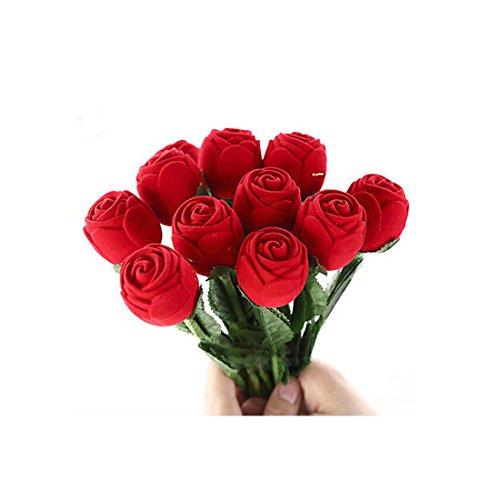 San Valentín Rosa del anillo de la joyería de la caja de regalo con