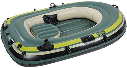 Inflable tándem de aguas bravas kayak, resistente a la perforación de PVC inflable Bote Bote Bote Deporte Aéreo Tender Pesca balsa de carga hasta 440lbs de la deriva de buceo deportes acuáticos