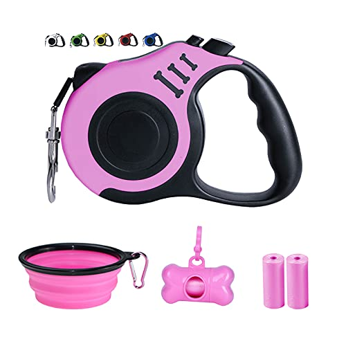Dunhuang Retractable Dog Leash for X-Small/Small/Medium, 10ft (for Dogs Up to 22lbs), with 1 Free Portable Silicone Dog Bowl + 1 Waste Bag Dispenser +...