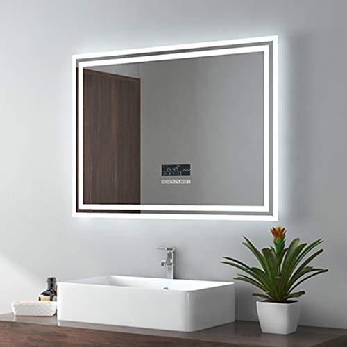 Espejo de baño LED EMKE de 80x60 cm, Espejo de Pared con iluminación, Espejo de baño con Altavoz Bluetooth 4.1, Interruptor táctil, antivaho, Reloj