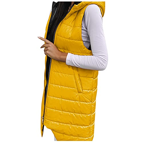 Briskorry Chaleco de plumn con capucha para mujer, de gran tamao, sin mangas, resistente al viento, plegable, porttil, chaqueta de invierno, amarillo, L