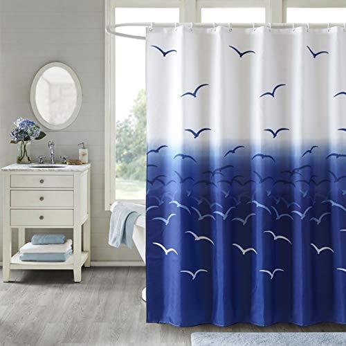 JRing Duschvorhang Textil 200x200 Blaue Vogel Schimmelresistenter & Wasserabweisend Shower Curtain mit 12 Weiß Duschvorhangringen