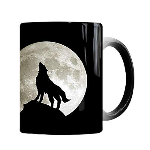 Taza de cambio de color de luna nuevo de 350 ml, taza de café Magic Heat Sensitive Coffee Milk Cup Regalo de cumpleaños Novedad