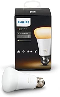 ,Philips Hue White Ambiance A19 60W Equivalent Dimmable LED Smart Light Bulb, 1 Smart Bulb, Works with Alexa, Apple HomeKit, and Google Assistant, (California Residents)