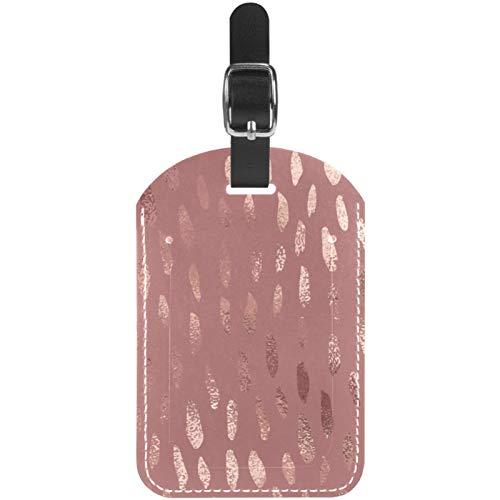 Etiquetas de equipaje de color oro rosa con textura de papel de aluminio para maleta de viaje, 1 paquete