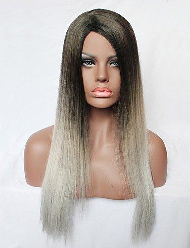 jiayy perruque des femmes de la mode sans couvercle long et bouclé de couleur gris dégradé de couleur de cheveux synthétique