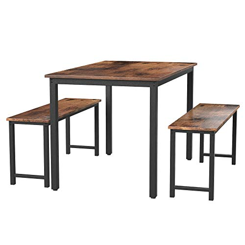 belupai Dining Room, 3 Pieces Farmhouse Kitchen Table Set with Two Benches, Metal Frame and MDF Board, Modern Furniture for Home, Cafeteria, Apartment and Farm House