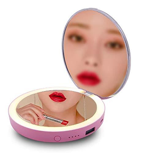 NCBH Make-up spiegel met LED-verlichting, 5000 mAh, 1 USB-poort, voor mobiele telefoons, tablet-digitale camera