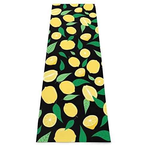 Alfombrilla de yoga con fruta de limón antideslizante para yoga, pilates, gimnasio en casa y entrenamiento