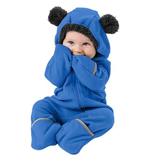 LEXUPE Kinder Jumpsuit Jungen mädchen Overall Fleece Flanell Pyjamas Baby Strampler(D-Blau,70
