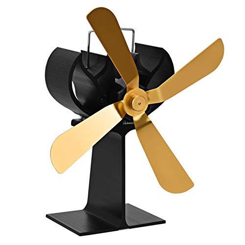 XIAOKUKU Wärmebetriebener Kaminventilator, 4-Blade-Silent-Herdventilator verteilt gleichmäßig Protokollbrandwärme, Umweltschutz und hohe Temperaturbeständigkeit,Gold