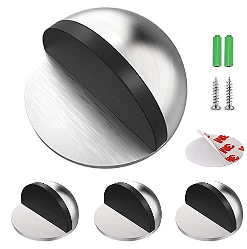 Junlic Tope de Puerta para Suelo, [Set de 4] Topes para Puertas de Piso de Acero Inoxidable Autoadhesivo Protección de Pared y Muebles Plata
