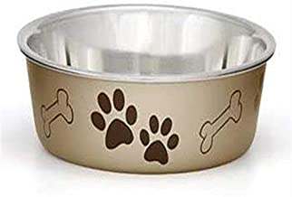 Loving Pets Metallic Bella Bowl, Medium, Champagne