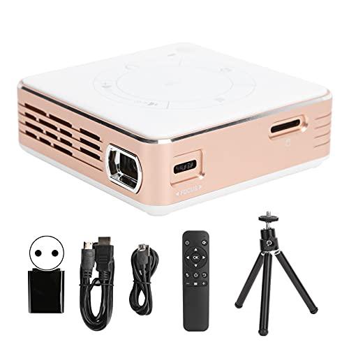 Yunseity Mini proyector, conexión inalámbrica HD Smart Bluetooth, Equipo en Pantalla doméstico C99 100‑240V, decodificación Dura 4K de Alta definición y resolución Full HD(UE Oro Rosa con Blanco)