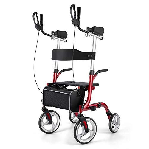 "Rinkmo Upright Rollator, Upwalker Lite for Seniors and Adults Stand Up Folding Rollator Walker with Seats and 10"" Wheels, Padded Armrest and Backrest, Tall Rolling Mobility Walking Aid with Basket,Red"