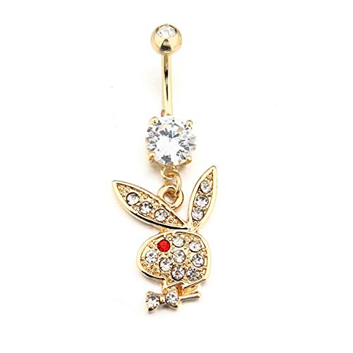 MENGzhuHSA Fashion 2 pcs Rhinestone Body Piercing Surgical Belly Crystal Navel Ring Bar Barbell Drop Dangle Button Rings Women Jewelry Belly button ring (Metal color : Silver Plated)
