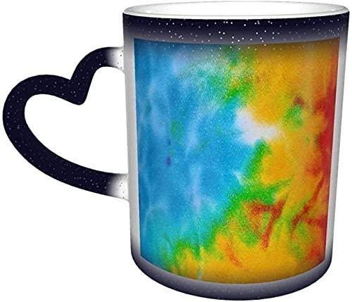 MENYUAN Tazas de café con texto 'Tie Dye Magic Heat Sensitive Color Change' en el cielo. Divertidas tazas de café, regalos personalizados para los amantes de la familia, amigos, color azul