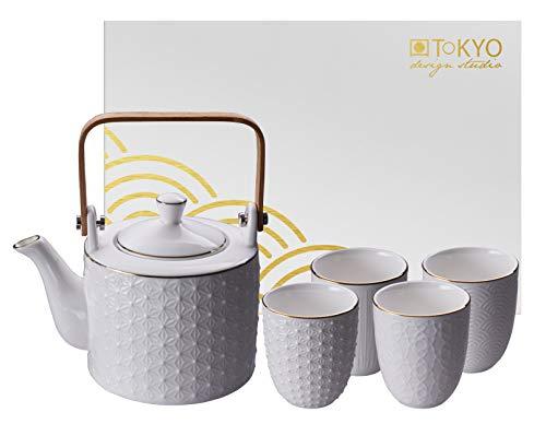 TOKYO design studio Nippon White Tee-Set weiß, 5-TLG, mit Gold-Rand, 1x Tee-Kanne 0,8 l und 4X Tee-Tassen 160 ml, asiatisches Porzellan, Japanisches Design, inkl. Geschenk-Verpackung