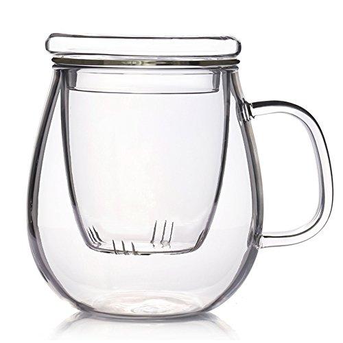 TAMUME 500ml Glas Tee Becher mit Glasfilter und Deckel Glastee für EIN Set
