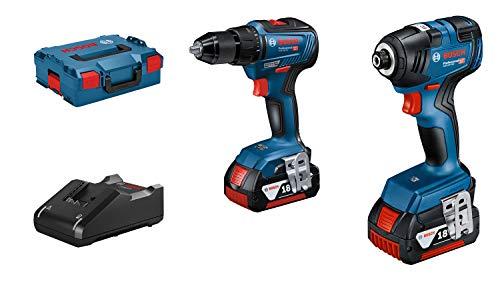 Bosch Professional 18V System Set visseuses sans-fil GDR 18V-200 et GSR 18V-55 (avec 2 batteries GBA 18V 4.0Ah + chargeur GAL 18V-40, dans une L-BOXX) Bleu