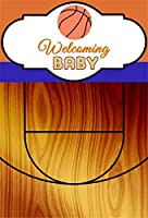 Yeele 男の子 ベビーシャワー 背景幕 4 x 6フィート 屋内 バスケットボール コート 写真撮影 背景 新生児 赤ちゃん ポートレート 写真ブース 写真小道具 デジタル壁紙